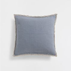 BLUE FADED CROCHET-BORDER LINEN CUSHION COVER
