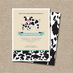 Baby Shower Invitation Clean Cow Listing Is For The Digital Files Only