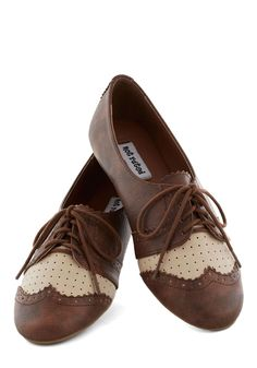 A Day of Dashing Flat in Whiskey, #ModCloth