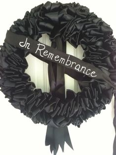 Wreath Mourning Black Ribbon 18 Inch In Remembrance Memorium Love Always