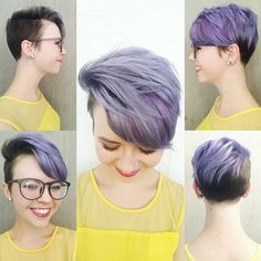 51 Pixie Haircuts You'll See Trending in 2019 - Hairstyles Trends Undercut Hairstyles, Pixie Hairstyles, Pixie Haircut, Girl Short Hair, Short Hair Cuts, Short Lavender Hair, Short Purple Hair, Purple Pixie Cut, Shaved Pixie