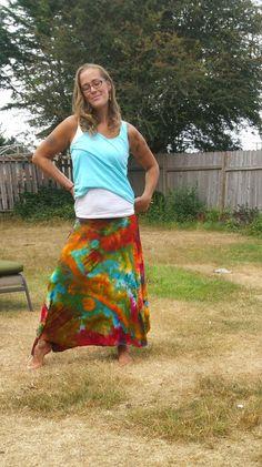 Rainbow Brite ice tie dyed hippie skirt tie dye hippie skirts bright boho by LunabeanShoppe
