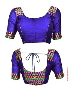RENT : Royal Blue Patch Work Readymade Blouse. Every women wants to look gorgeous with their outfits, this ready to wear blue blouse is beautifully made with patch work both in the sleeve and back neck. The sleeve comes with a length of 14 inches. Match this ethnic blouse with your silk cotton saree and stand out from the crowd.