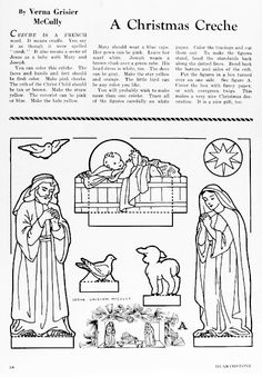 Links to printable paper Nativity scenes/ creches: print