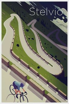 ''Stelvio' Print' Poster by superchezbro Cycling Art, Road Cycling, Cycling Quotes, Bike Illustration, Bike Poster, Bicycle Art, Bicycle Design, Bicycle Maintenance, Vintage Travel Posters