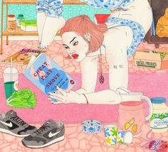 ¡Cuántas cosas podemos hacer mientras leemos! (ilustración de Laura Callaghan)