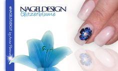 UV Permanent Nagellack Shellac Nageldesign Nailart Glitzerblume