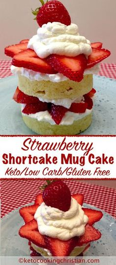 Strawberry Shortcake Mug Cake - Keto, Low Carb & Gluten Free In the mood for som. Strawberry Shortcake Mug Cake - Keto, Low Carb & Gluten Free In th. Low Carb Sweets, Low Carb Desserts, Low Carb Recipes, Ketogenic Recipes, Simple Keto Desserts, Low Carb Mug Cakes, Keto Mug Cake, Gluten Free Mug Cake, Keto Cookies