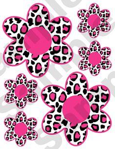 Hot Pink Leopard FlowersTeen Girl Wall Stickers Decals.