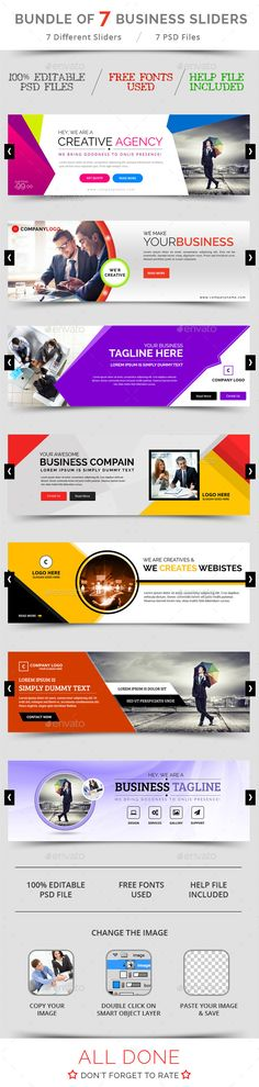 Bundle of 7 Business Sliders - Sliders & Features Web Elements