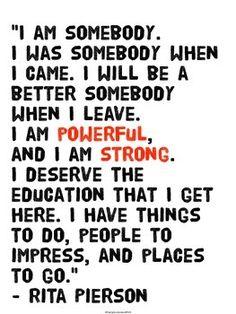 Rita Pierson Morning Pep Talk Quote Poster Freebie: Morning Pep Talk by Rita PiersonFreebie: Morning Pep Talk by Rita Pierson Classroom Signs, Classroom Posters, Classroom Quotes, Math Classroom, Future Classroom, Classroom Decor, Teaching Quotes, Education Quotes, Lesson Quotes