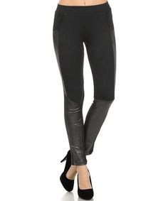 Loving this Black Faux Leather-Accent Leggings on #zulily! #zulilyfinds (IconoFlash)