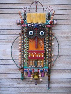 """Home at Last"" - Found Object Assemblage by Fig Jam Studio Multi-media. I see an owl in it! You?"