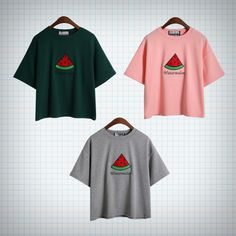 T-shirt with watermelon embroidery! Available in pink, grey, and green. Measurements: Chest - 102cm Length - 51cm Shoulders - 48cm Sleeves - 16cm