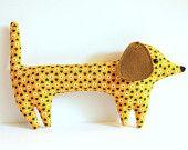 Goldie the handmade plush dachshund -