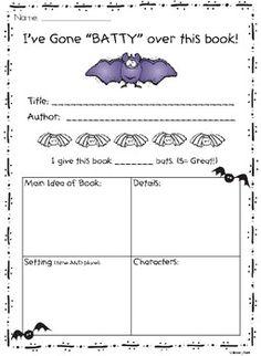 Halloween book report worksheets