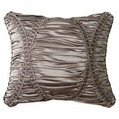"""Ruched silk-inspired pillow with lattice details.  Product: PillowConstruction Material: Polyester silk cover and polyester fillColor: GrayFeatures:  Insert includedRuched details Dimensions: 15"""" x 18""""Cleaning and Care: Spot clean or dry clean"""