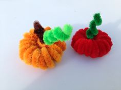 Pipe cleaner pumpkin and a tomato. Tutorial here: https://www.youtube.com/watch?v=nzVSfmYmeRA