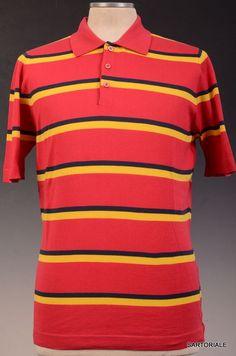 KITON Napoli Red Striped Cotton Short Sleeve Polo Shirt EU 50 NEW US M