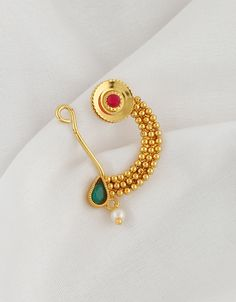 Buy Multi Colour Gold Finish Traditional Nath For Girls Online Nose Ring Jewelry, Jewelry Art, Gemstone Jewelry, Gold Jewelry, Jewelry Design, Fashion Jewelry, Nose Rings, Jewellery, Nose Jewels