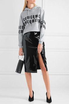 McQ Alexander McQueen | Appliquéd cropped cotton-jersey hooded sweatshirt | NET-A-PORTER.COM