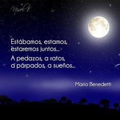 "Estábamos, estamos, estaremos juntos. A pedazos, a ratos, a párpados, a sueños"". Mario Benedetti #poemas #poesia"