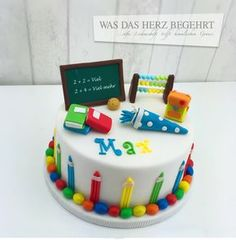 Another great start of school cake! Teachers Day Cake, Teacher Cakes, 80 Birthday Cake, Girl 2nd Birthday, Cake & Co, Cake Art, Cupcake Cake Designs, School Cake, Baking With Kids