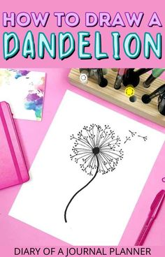 Learn to draw a dandelion with this simple step-by-step guide! #doodling #drawing #flowers Easy Flower Drawings, Easy Doodles Drawings, Flower Drawing Tutorials, Cool Doodles, Easy Doodle Art, Drawing Flowers, Simple Doodles, Doodles Zentangles, Drawing Ideas