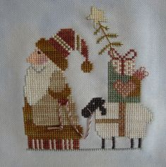 Santas Helper was a fun ornament to stitch I really like the color combination (need I say I love the sheepie?) Its a freebie from JCS . Santa Cross Stitch, Counted Cross Stitch Patterns, Cross Stitch Charts, Cross Stitch Designs, Cross Stitch Embroidery, Cross Stitch Freebies, Cross Stitch Christmas Ornaments, Christmas Embroidery, Christmas Cross