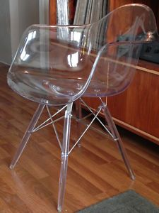 Rare Lucite Herman Miller Arm Shell Armshell Chair w/ Wire Dowel Base MCM 1960's