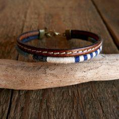 Bracelet multi-rangs homme / Bracelet marin / Bracelet cuir / Bracelet laine tissé / Boho-chic / Bleu / Bracelet élégant / Cadeau pour homme