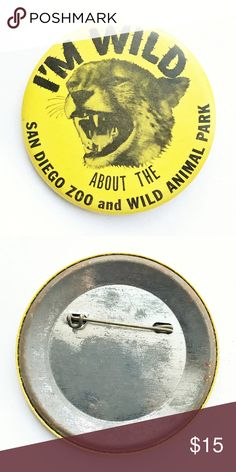 """70s San Diego Zoo Pin 1970s I'm Wild About the San Diego Zoo and Wild Animal Park Pin  • true vintage • 2  1/2"""" • color: black, yellow • tags: LA Los Angeles leopard cheetah cat history zoology zoologist California home town state Hollywood Malibu Long Beach Santa Barbara Santa Monica Santa Cruz Huntington Newport Beverly Hills button badge pinback • all of the pins I sell are vintage & may contain minor nicks, imperfections, or oxidation Vintage Accessories"""
