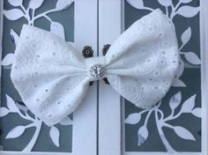 Eyelet fabric hair bow with rhinestone center for little girls teens and woman - holiday hair accessories - flower girl wedding hair bow