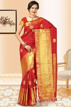 Designer hand woven Saree in Red Kancheepuram Silk having zari weaved border. Blouse in Pure Silk Red color. Beautiful Saree, Sarees Online, Red Gold, Silk Sarees, Casual Wear, Hand Weaving, Sari, Pure Products, Elegant