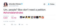 Regarding the 'petty petition' requesting that Jesse Williams should be fired from Grey's Anatomy because of his acceptance speech at the BET Awards, Ms. Shonda has spoken! Swing that clout! Jesse Williams, Acceptance Speech, Bet Awards, Tv Station, Grey's Anatomy, Reality Tv, Comebacks, Greys Anatomy