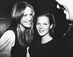 Kate Moss at her 19th birthday party with Elle MacPherson.