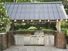 Rain or shine, an awning ensures this barbecue is always ready for use.