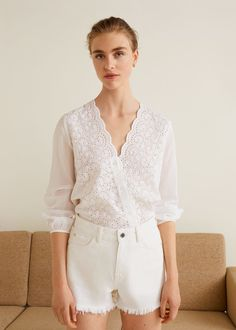 Cotton fabric Openwork panels Embroidered details V-neck Scalloped edges Long buttoned sleeve Button fastening on the front section Mango Outlet, High Street Fashion, Mango France, Casual Outfits, Fashion Outfits, Autumn Fashion 2018, Cotton Lace, Cotton Fabric, Embroidered Blouse