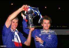 Graham Roberts and Trevor Francis both of Rangers hold the trophy aloft after their victory in the Skol Cup Final against Aberdeen at Hampden Park in Glasgow, Scotland. Get premium, high resolution news photos at Getty Images Rangers Football, Rangers Fc, Trevor Francis, Hampden Park, Glasgow, Flute, Graham, Scotland, Hold On