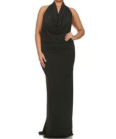Another great find on #zulily! Black Drape Halter Maxi Dress - Plus #zulilyfinds