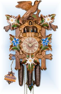 Adolf Herr Cuckoo Clocks | Adolf Herr Alpine Flowers cuckoo clock 19'' - Bavarian ...