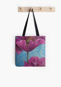 Tote bag --- Pink Poppies on Blue Background by Cherie Roe Dirksen Pink Poppies, Black And White Lines, Background S, Blue Backgrounds, Chiffon Tops, Reusable Tote Bags, Canvas Prints, Shoulder Bag, Designer Bags