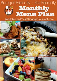 Printable Menu Plan for the entire month with Budget Friendly Meals on PocketChangeGourmet.com