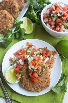Salmon Brown Rice Cakes with Fresh Salsa