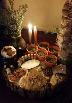 Altar - Witch - Pagan - Pinned by The Mystic's Emporium on Etsy… Autel Wiccan, Wicca Altar, Wicca Witchcraft, Pagan Witch, Magick, Green Witchcraft, Witch Cottage, Witch House, Mabon