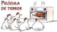 Chickens watching a horror movie.