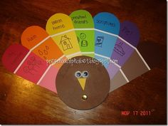 Thanksgiving Turkey with things they are thankful for on the paint samples...so cute! Via school :) Modifying to use construction paper instead in case Home Depot doesn't like me taking 96 paint swatches...haha