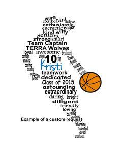 Baloncesto jugador arte arte de la palabra de por ByMyWordCreations                                                                                                                                                                                 Más