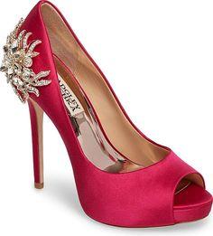 be04aa4a3f8 Women s Badgley Mischka Marcia Embellished Peep Toe Pump in Hot Pink Satin.  A crystal-