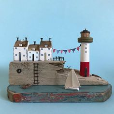 Seaview cottages #shabbydaisies #shabbychic #driftwoodart #rustic #rusticart #lighthouse #nautical #harbour #handmade #bunting #sailboat